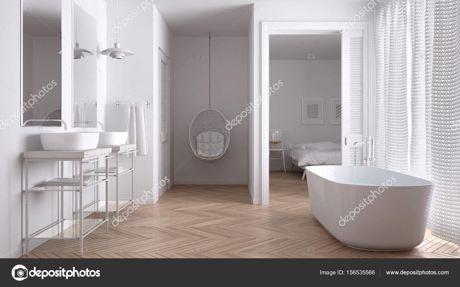 Minimalistische witte scandinavische badkamer met slaapkamer
