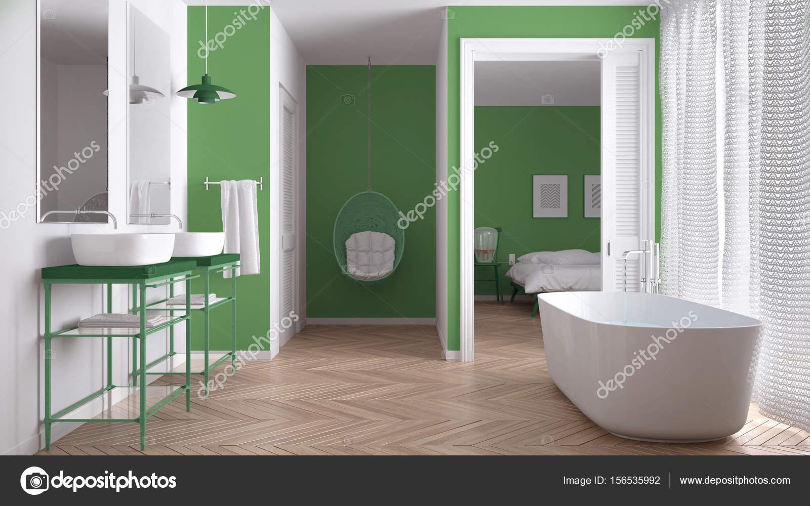 Minimalista bianco e verde bagno scandinavo con camera da - Bagno bianco e verde ...
