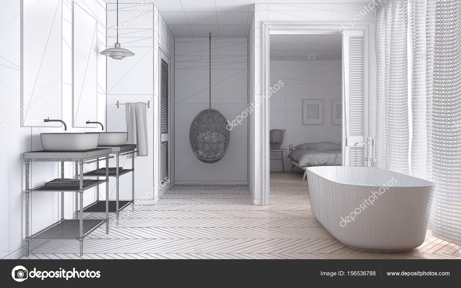 Badkamer In Slaapkamer : Onvoltooide project witte scandinavische badkamer met slaapkamer ik