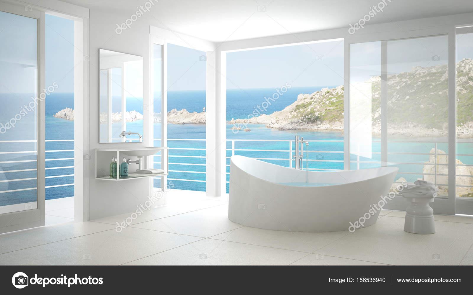 Salle de bain minimaliste avec grande baignoire et fenêtre ...