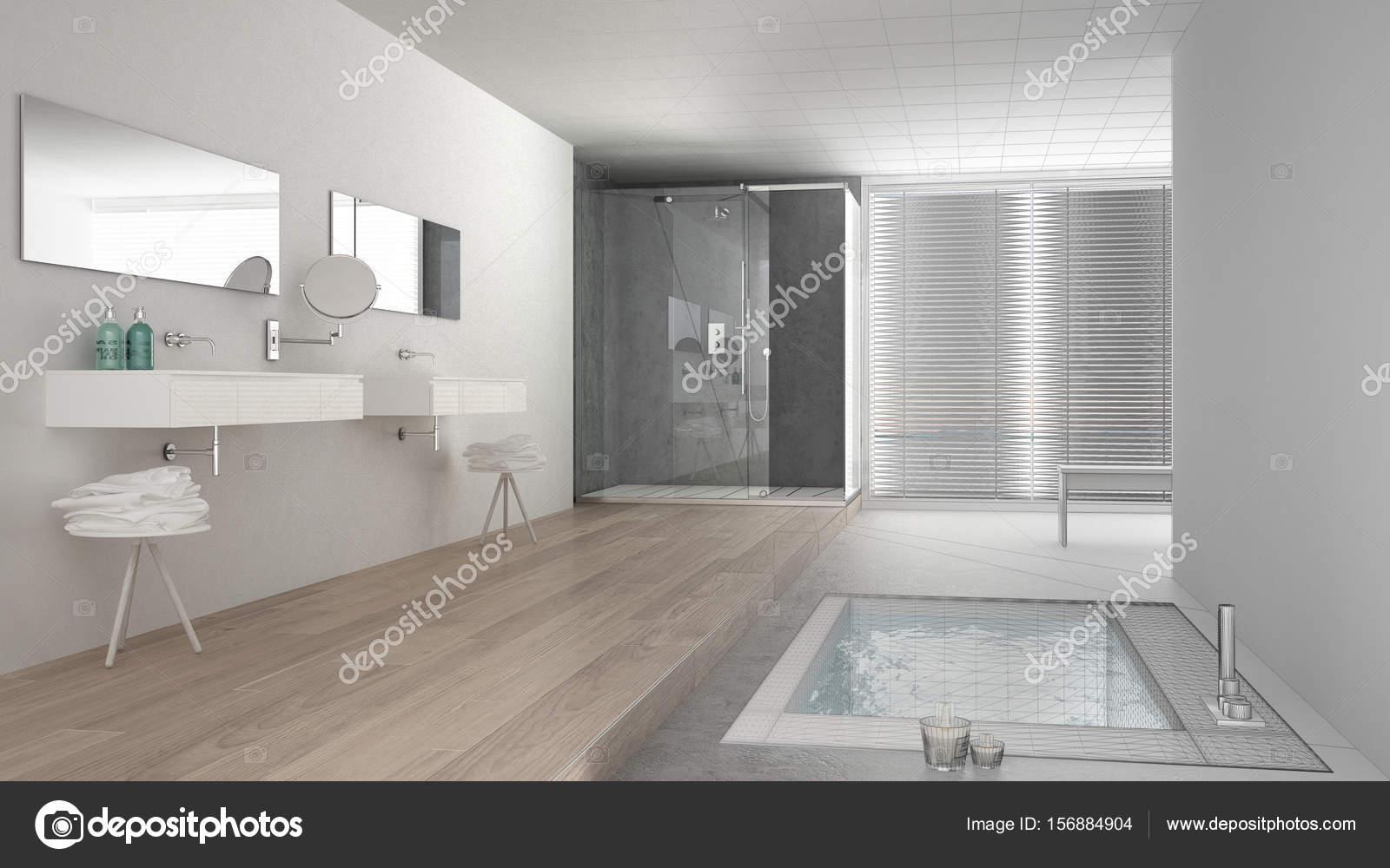 Camere Bianche E Grigie : Progetto incompiuto della stanza da bagno minimalista bianco e