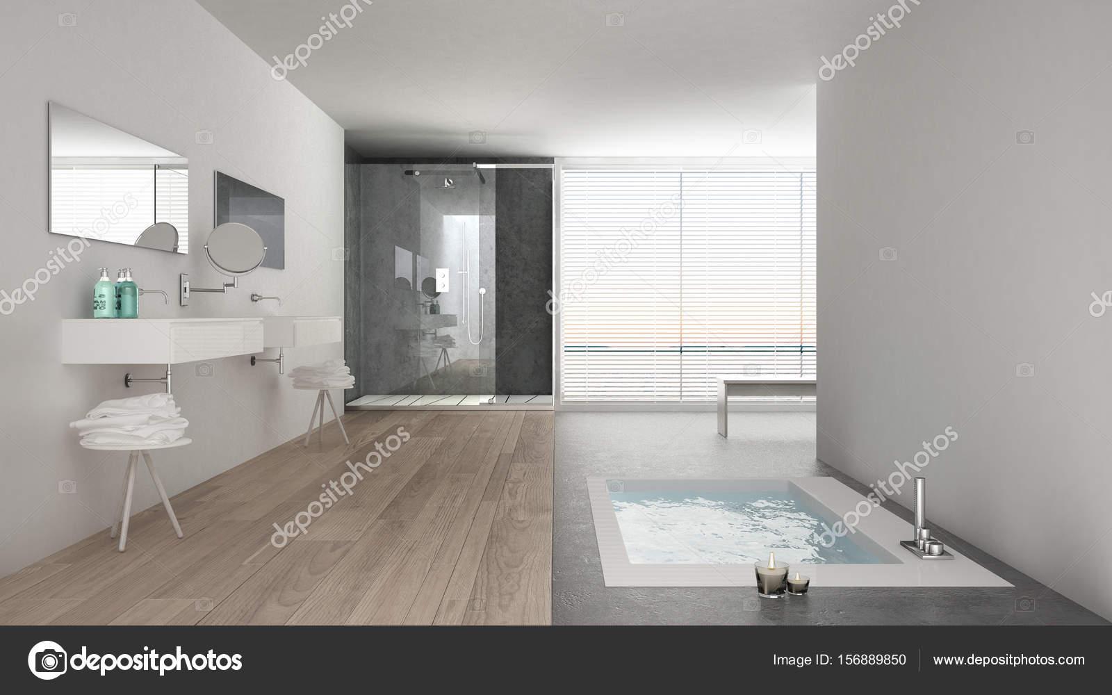 Minimalistische Weiße Badezimmer Mit Badewanne Und Panoramafenster, Cl U2014  Stockfoto