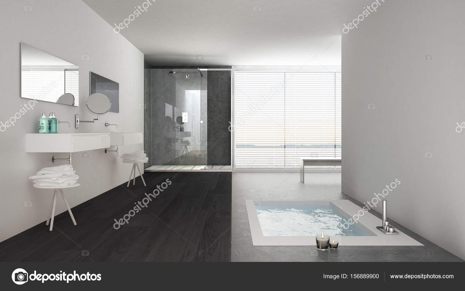 Minimalistyczne Białe I Szare łazienki Z Wanną Z