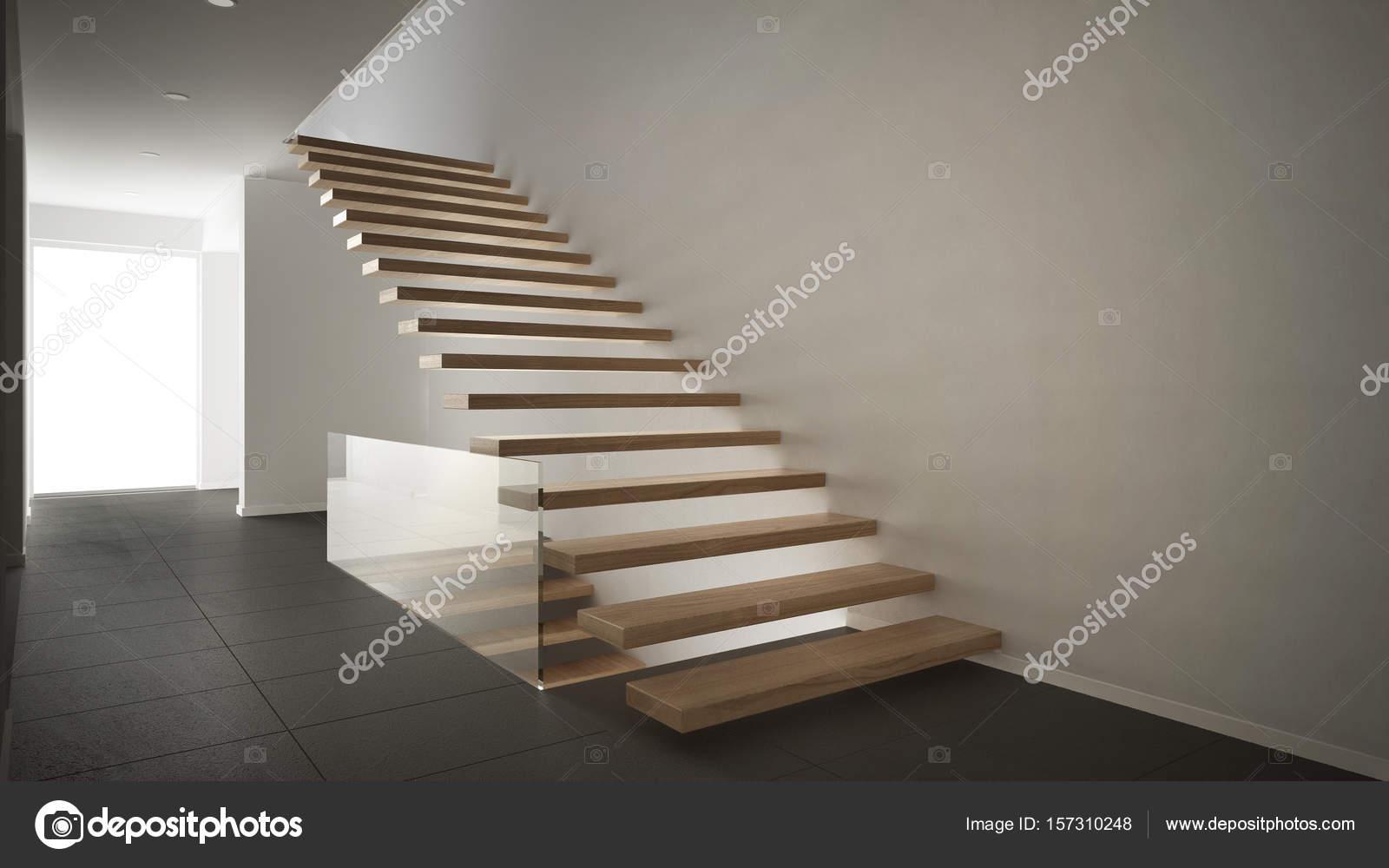 Moderne inkomhal met houten trap minimalistische witte en