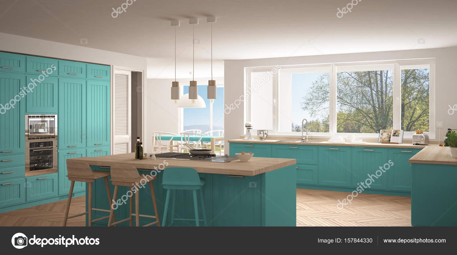 Cozinha Moderna Da Escandin Via Com Janelas Grandes Panorama