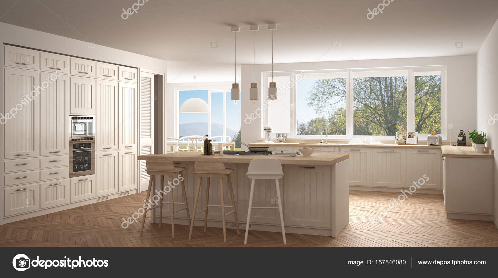 Skandinavien-Küche mit großen Fenstern, Panorama klassische wh ...