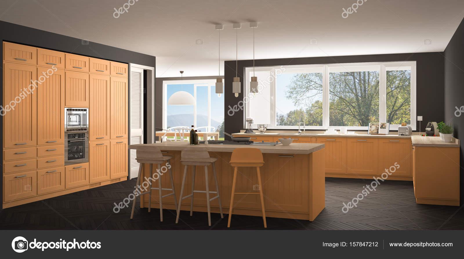 Skandinavien-Küche mit großen Fenstern, Panorama klassische gr ...