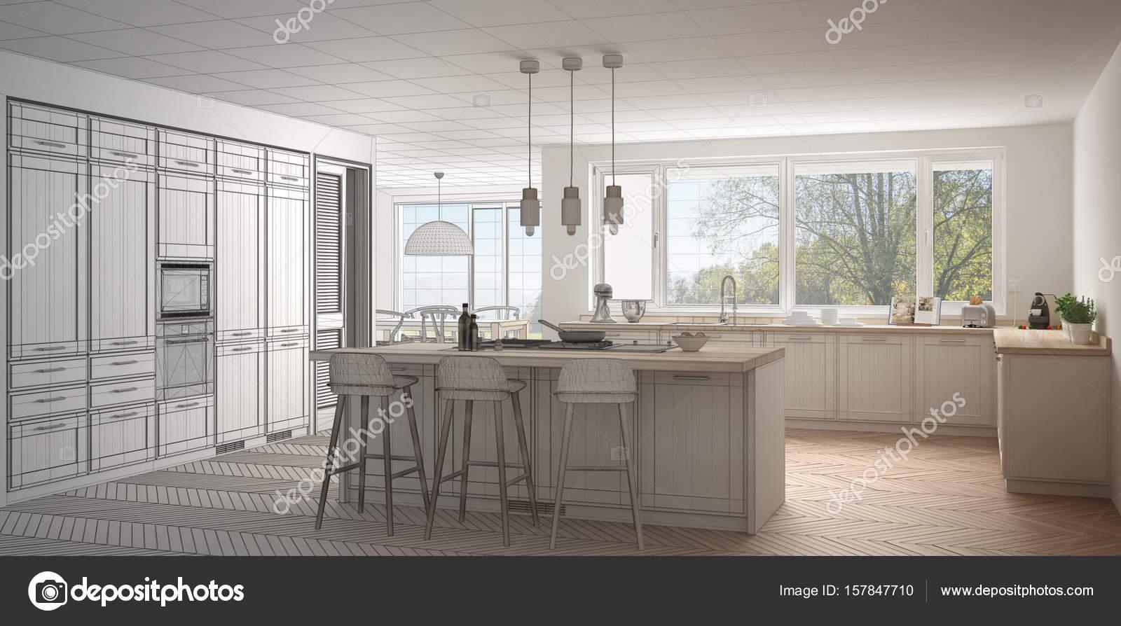 Unvollendete Projekt der moderne Skandinavien Küche mit großen ...