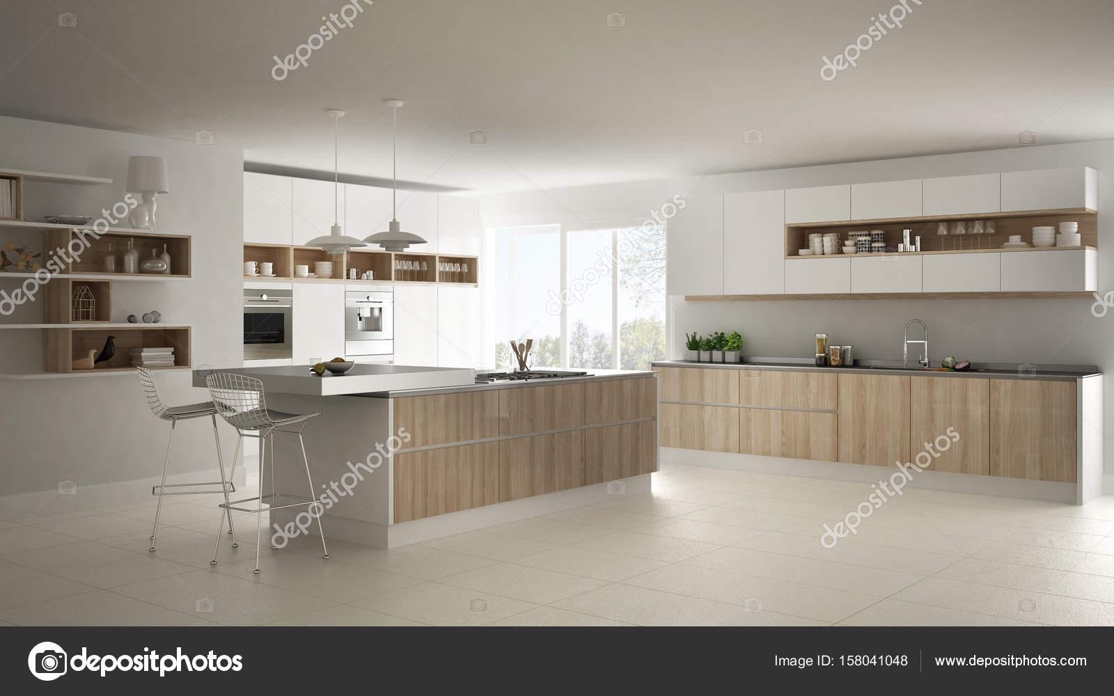 Moderne weiße Küche mit Holz- und weißen Details, minimalistisch ...
