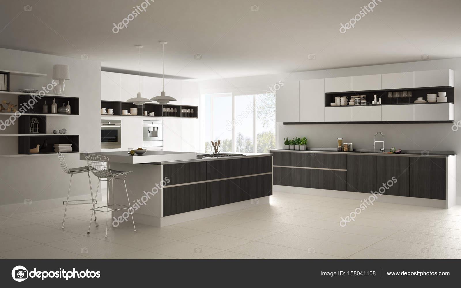Moderne witte keuken met houten en witte details minimalistische