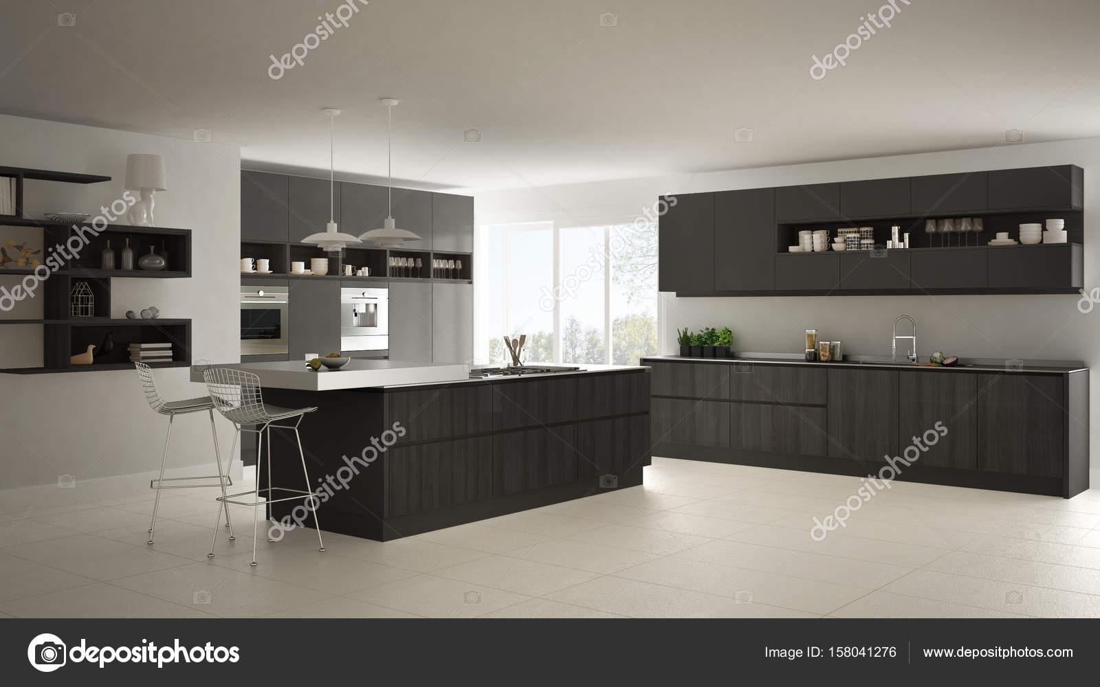 Moderna Cozinha Branca Com Detalhes Em Madeira E Cinza Minimalistas