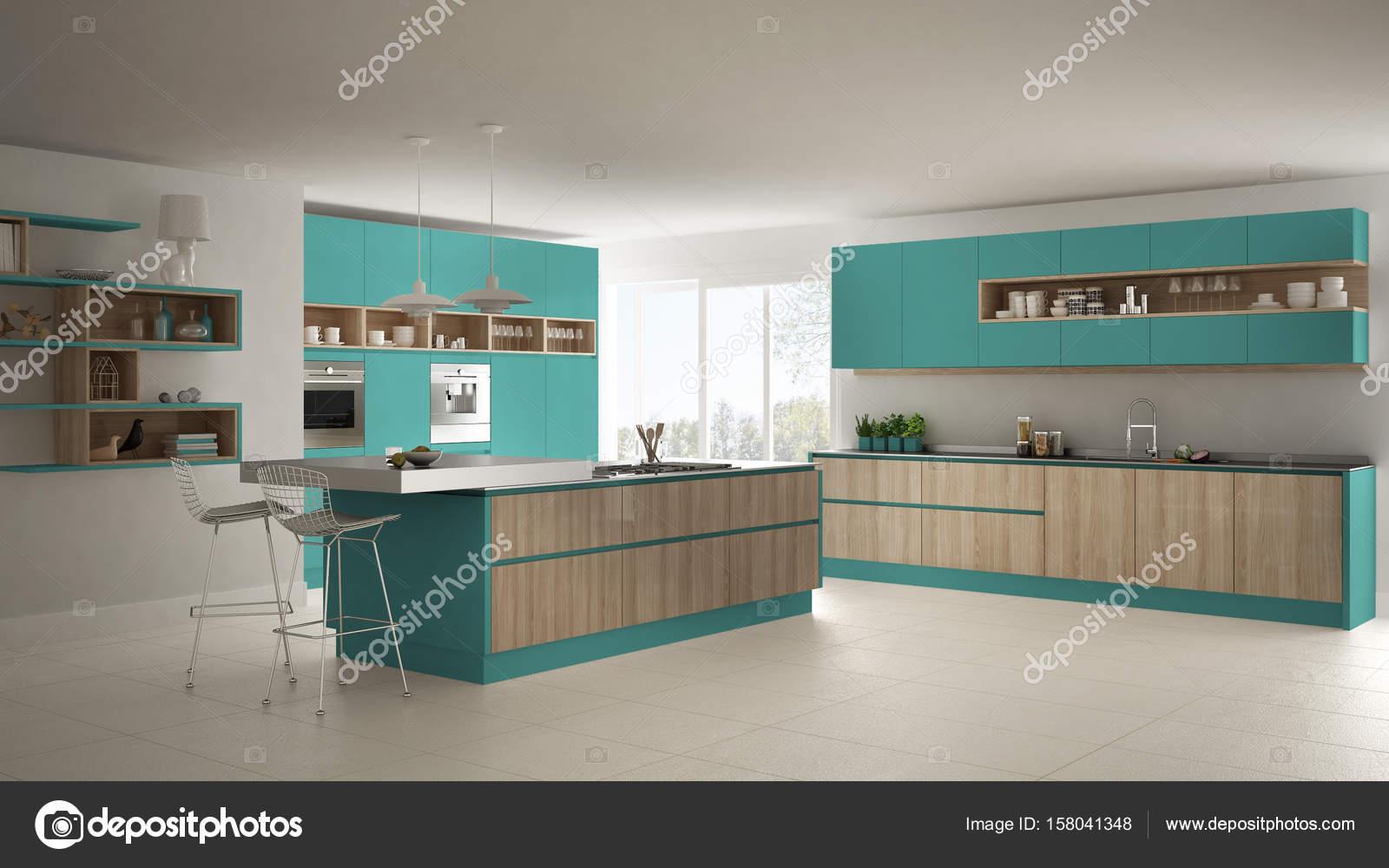 Moderna Cozinha Branca Com Detalhes Em Madeira E Turquesas Toscana