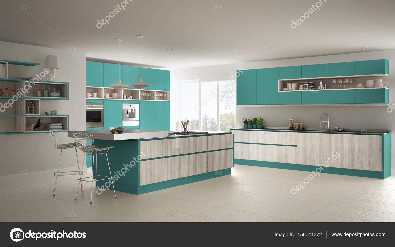 Moderne witte keuken met schiereiland ok keukens