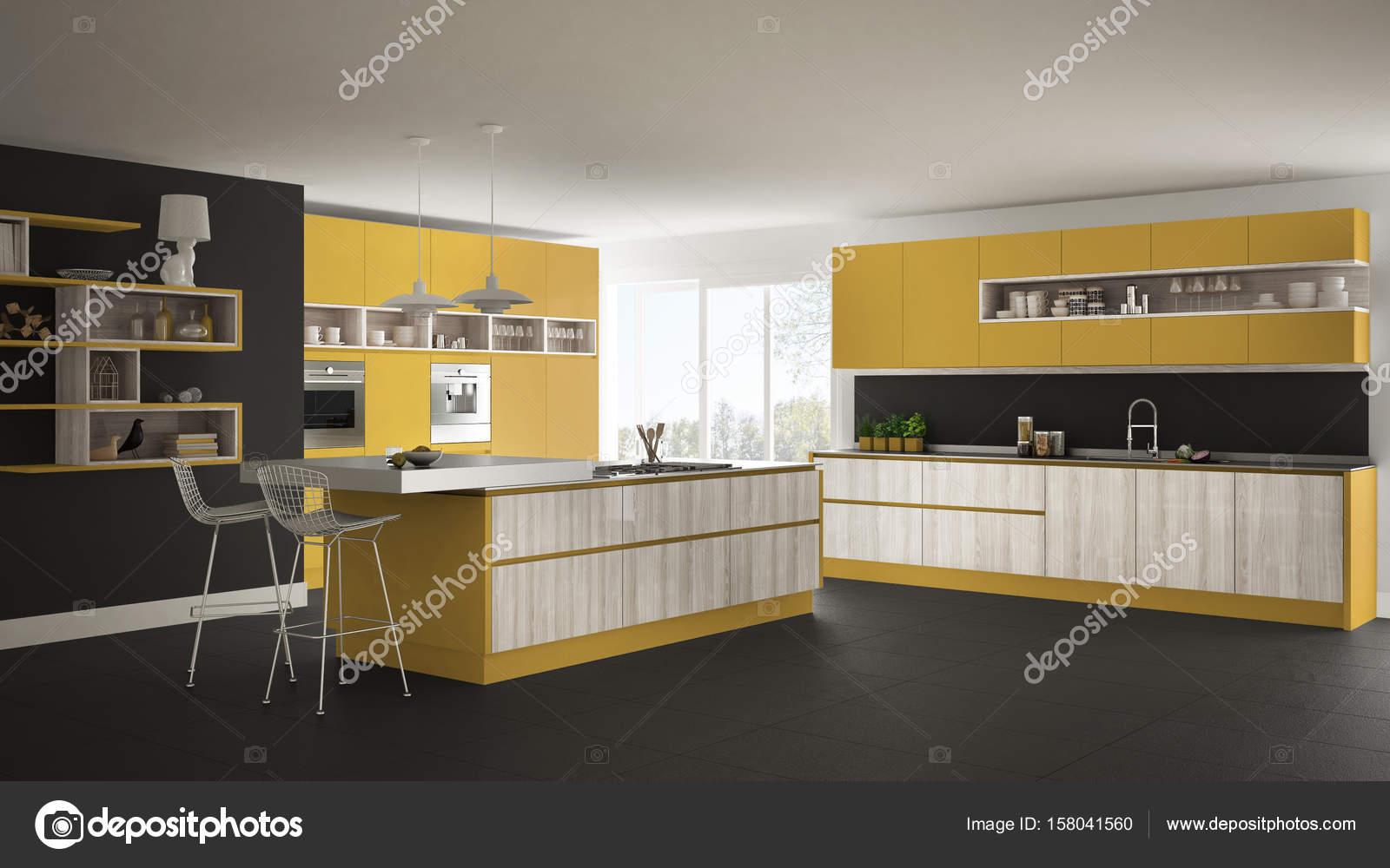 Moderne weiße Küche mit Holz- und gelbe Details, minimalisti ...