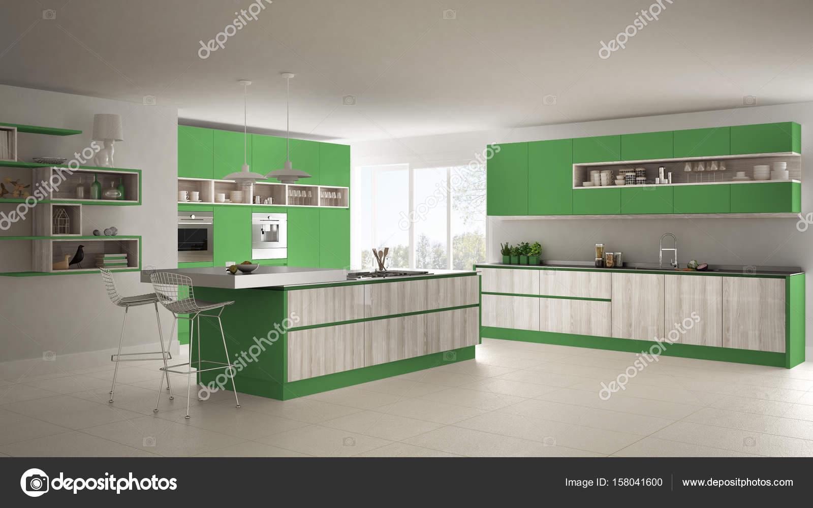 Moderna Cozinha Branca Com Detalhes Em Madeira E Verdes