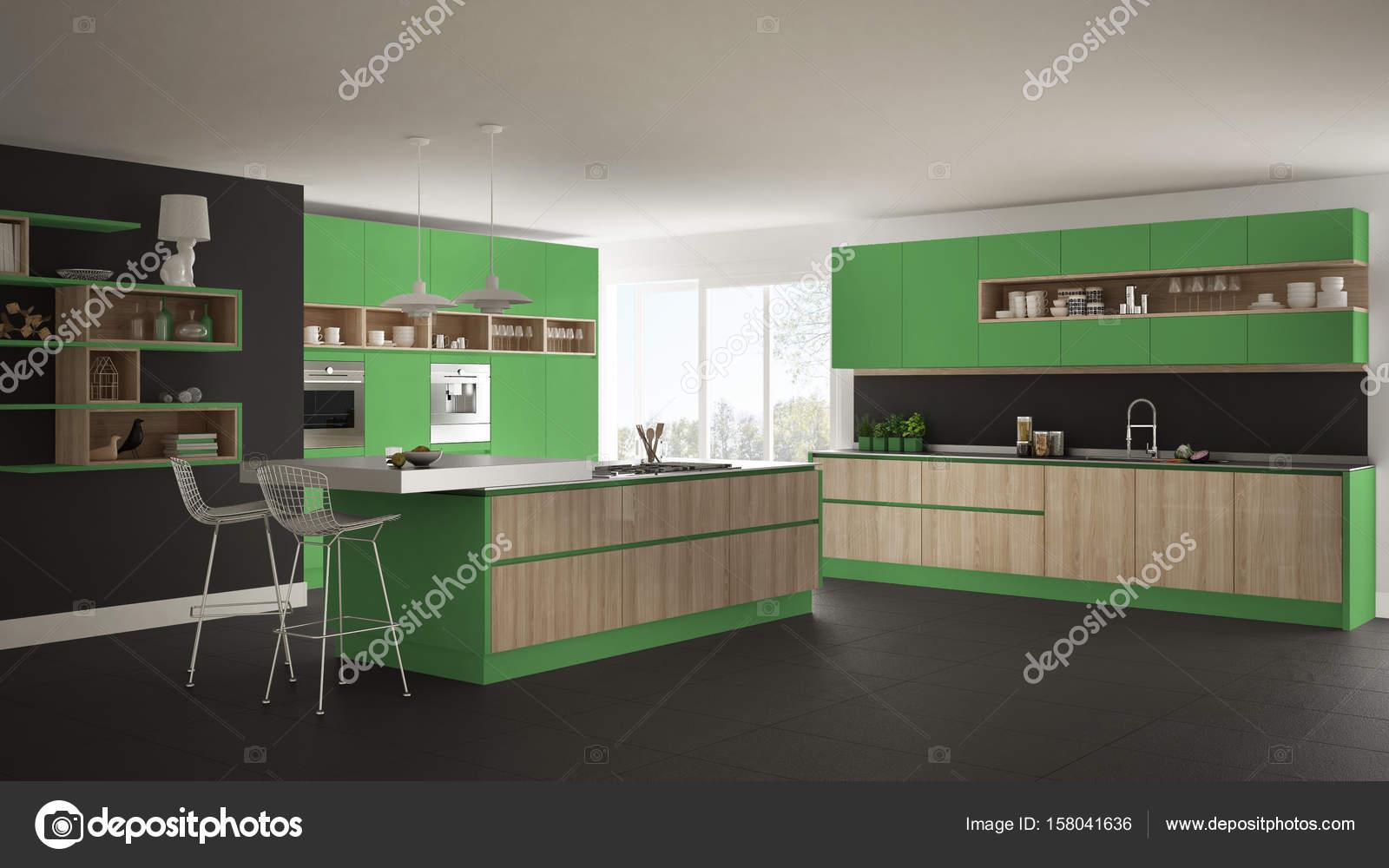 Weiße Küche Mit Holz moderne weiße küche mit holz und grünen details minimalistisch