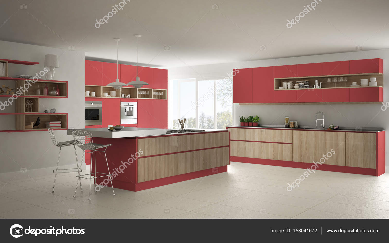 Modern White Kitchen With Wooden And Red Details Minimalistic I