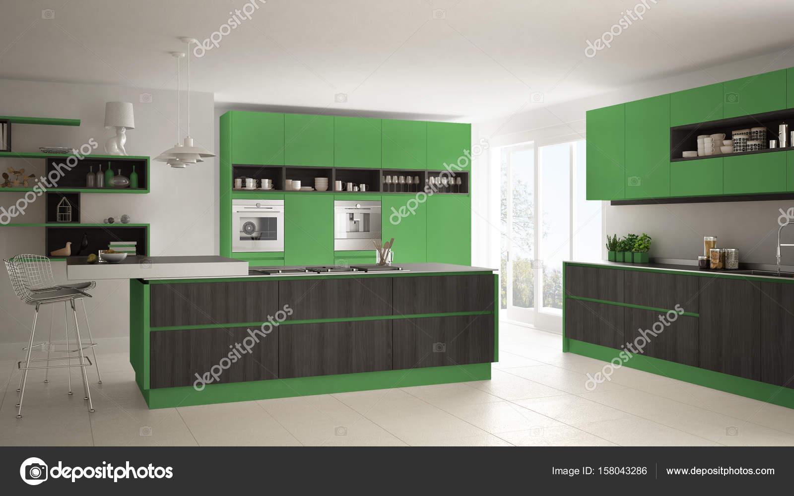 Moderne witte keuken met houten en groene details minimalistische