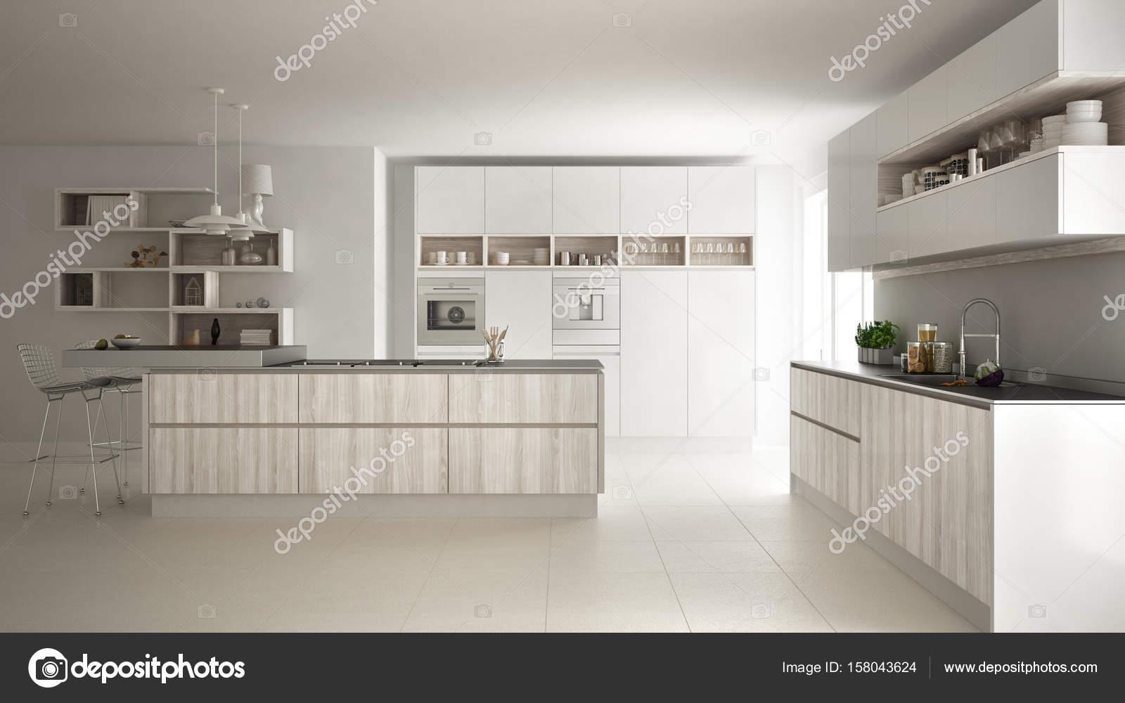Moderna Cozinha Branca Com Detalhes Em Madeira E Brancos