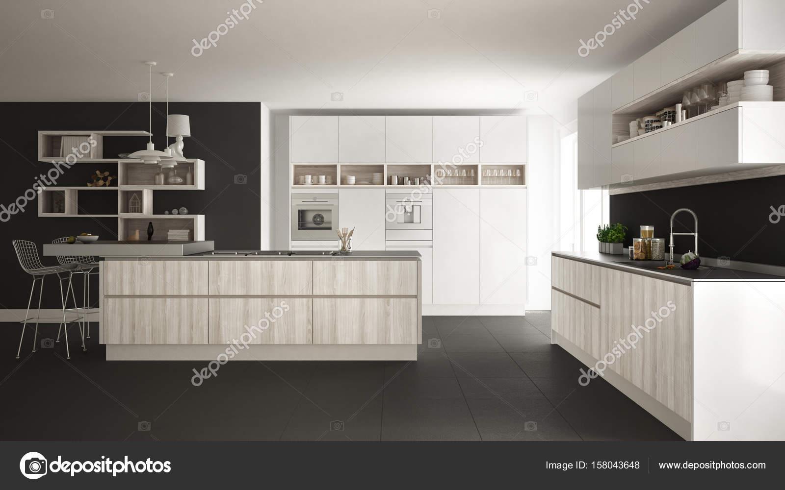 Moderne weiße küche mit holz und weißen details minimalistisch