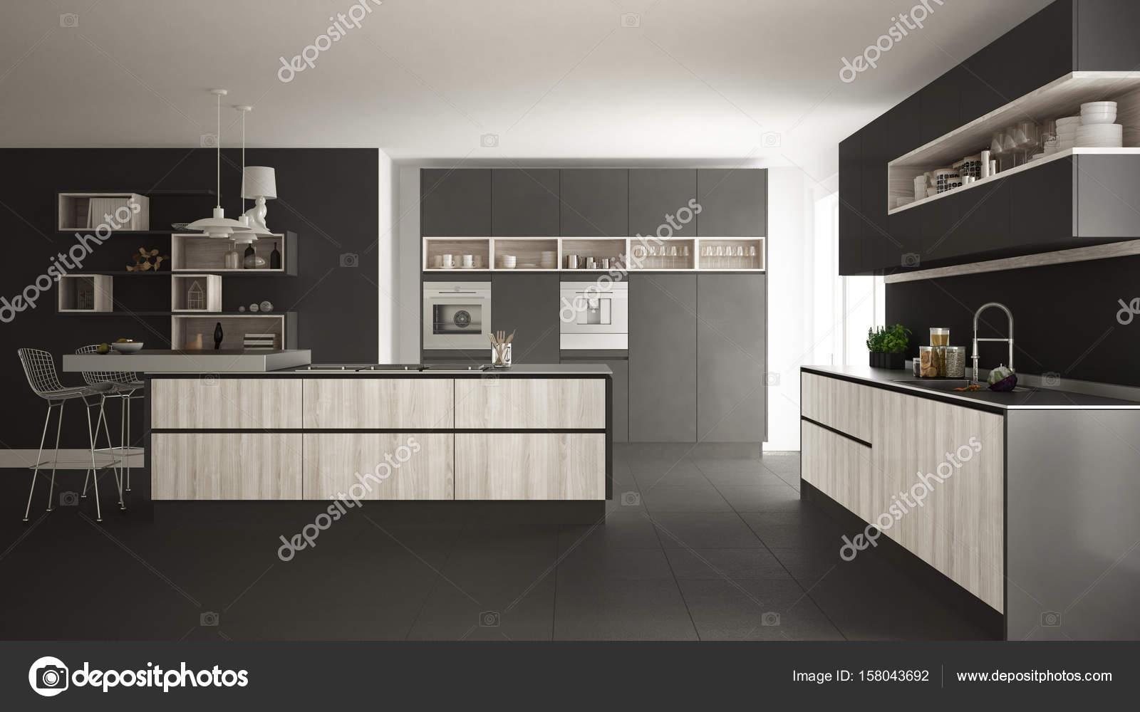 Moderne weiße Küche mit Holz- und grauen Details ...