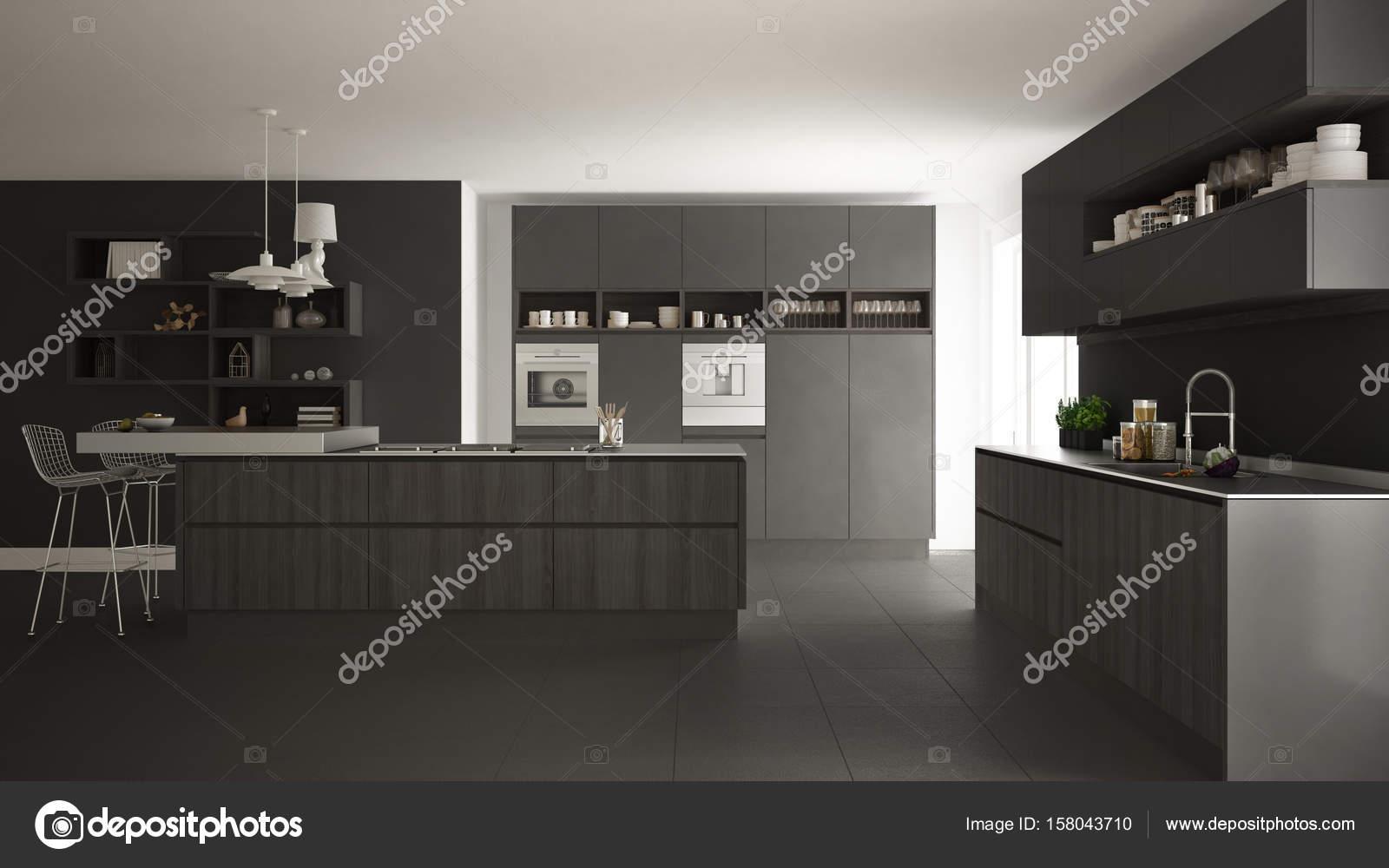 Moderne witte keuken met houten en grijze details minimalistische