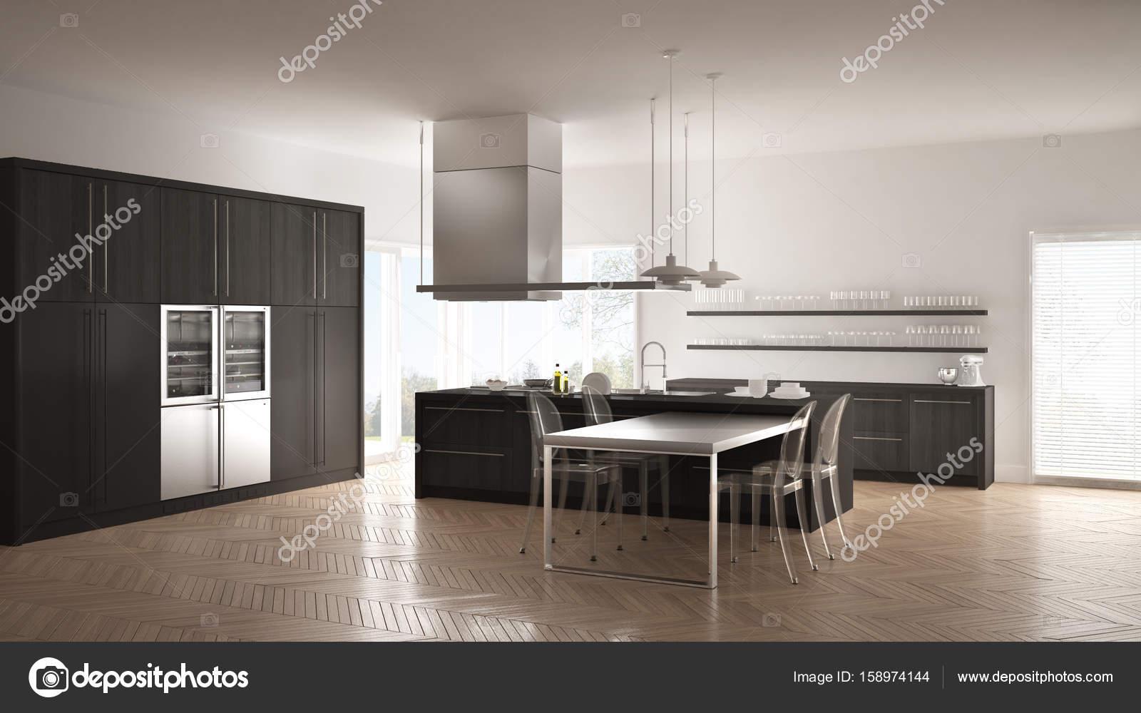 Cucina minimalista moderna con tavolo, sedie e pavimento in ...