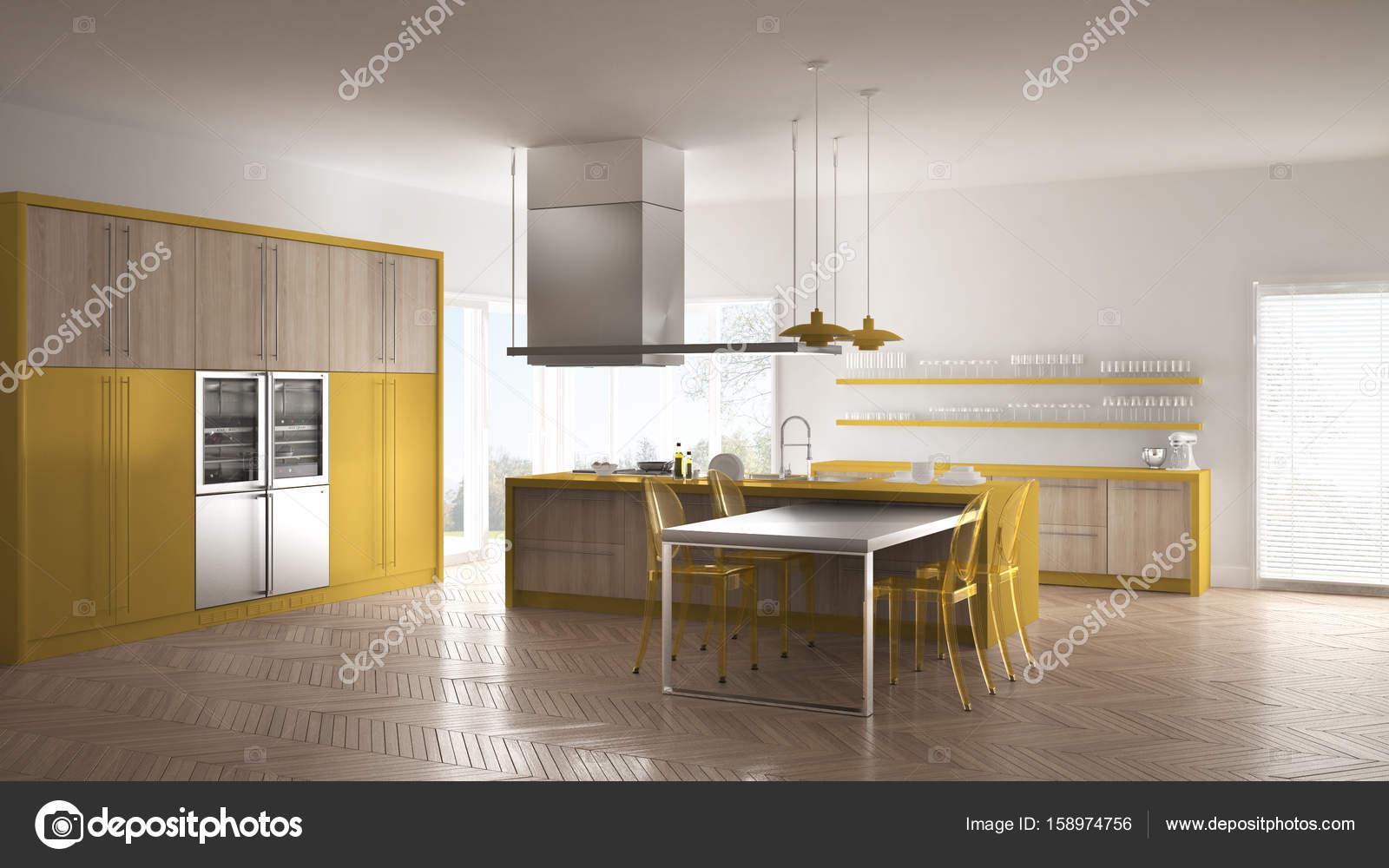 Parkett Küche | Minimalistische Moderne Kuche Mit Tisch Stuhlen Und Parkett