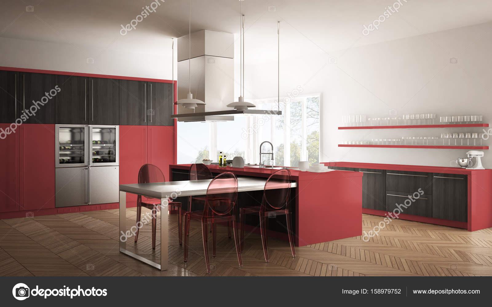 Minimalistische moderne Küche mit Tisch, Stühlen und Parkett ...