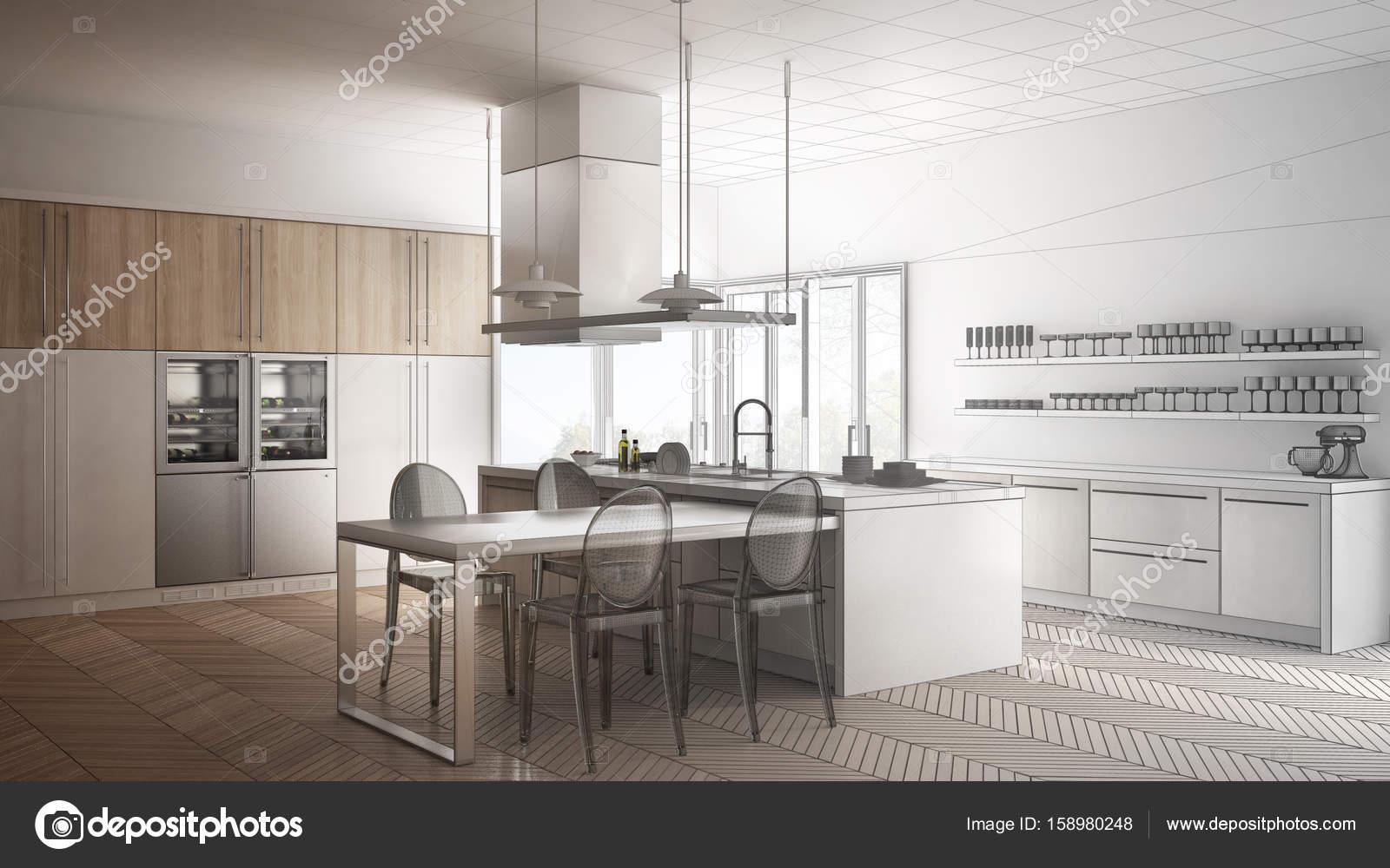 Unvollendete Projekt der minimalistische moderne Küche mit ...
