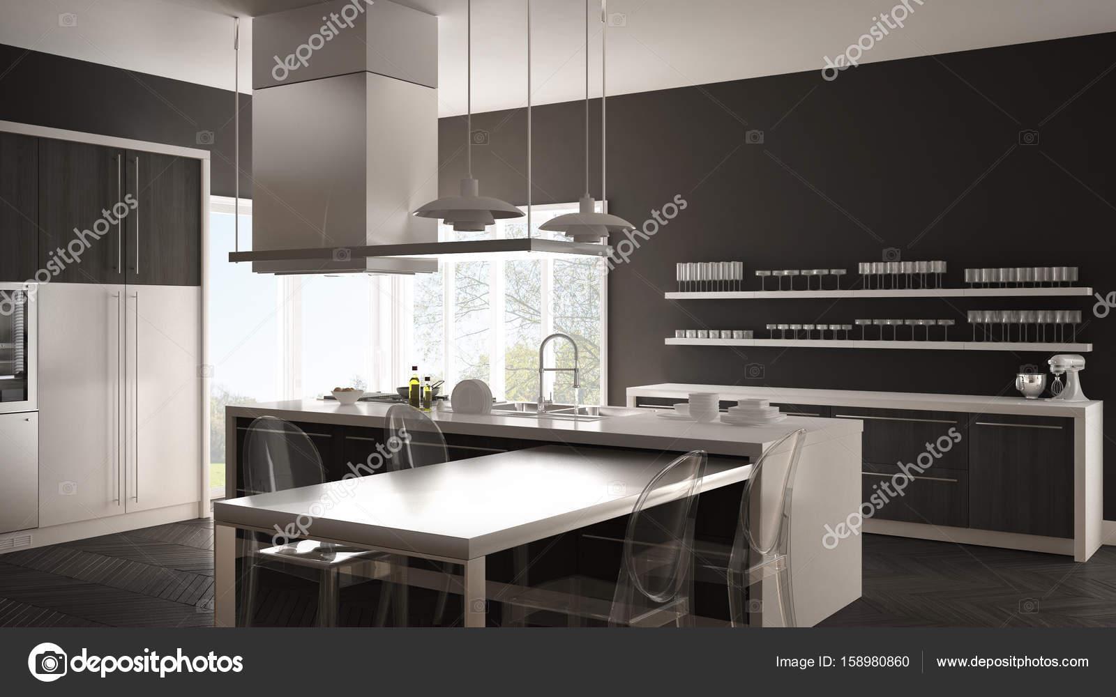 Cocina moderna minimalista con mesa, sillas y suelo de parqué ...