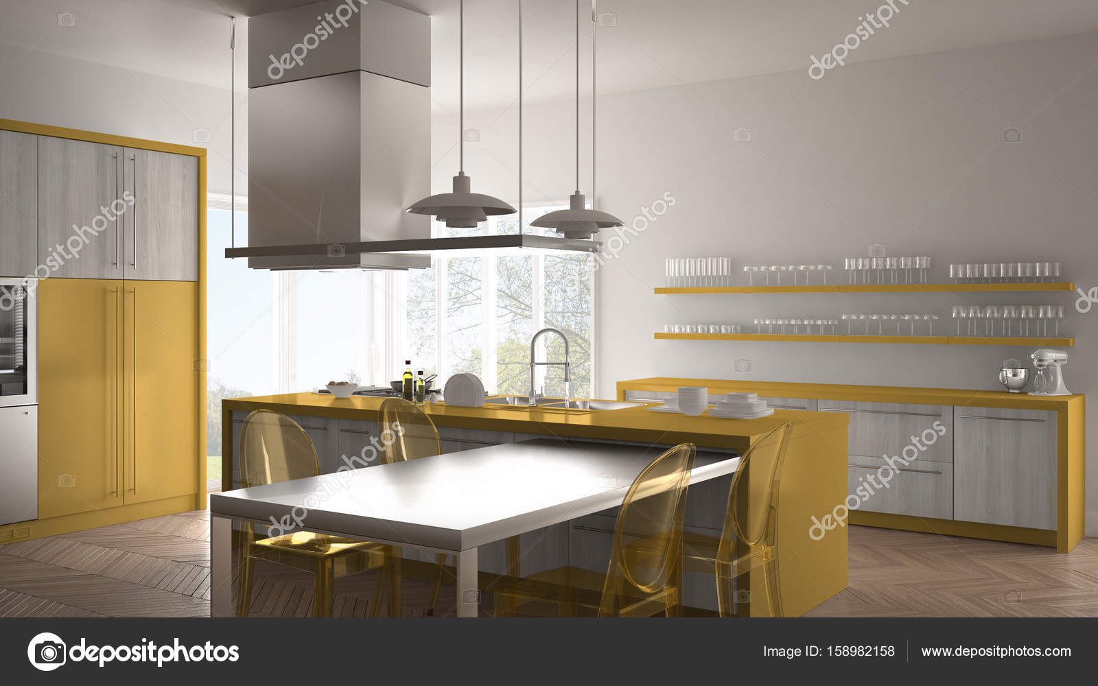 Minimalistische moderne keuken met tafel stoelen en parket vloer
