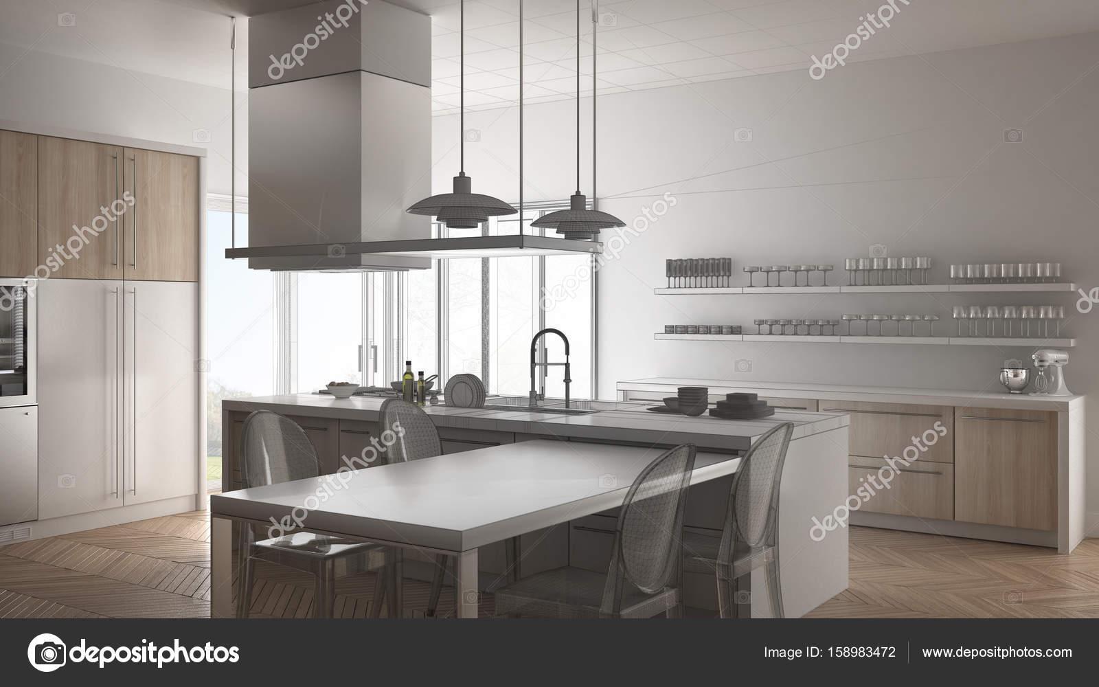 Unvollendete Projekt Der Minimalistische Moderne Kuche Mit Esstisch