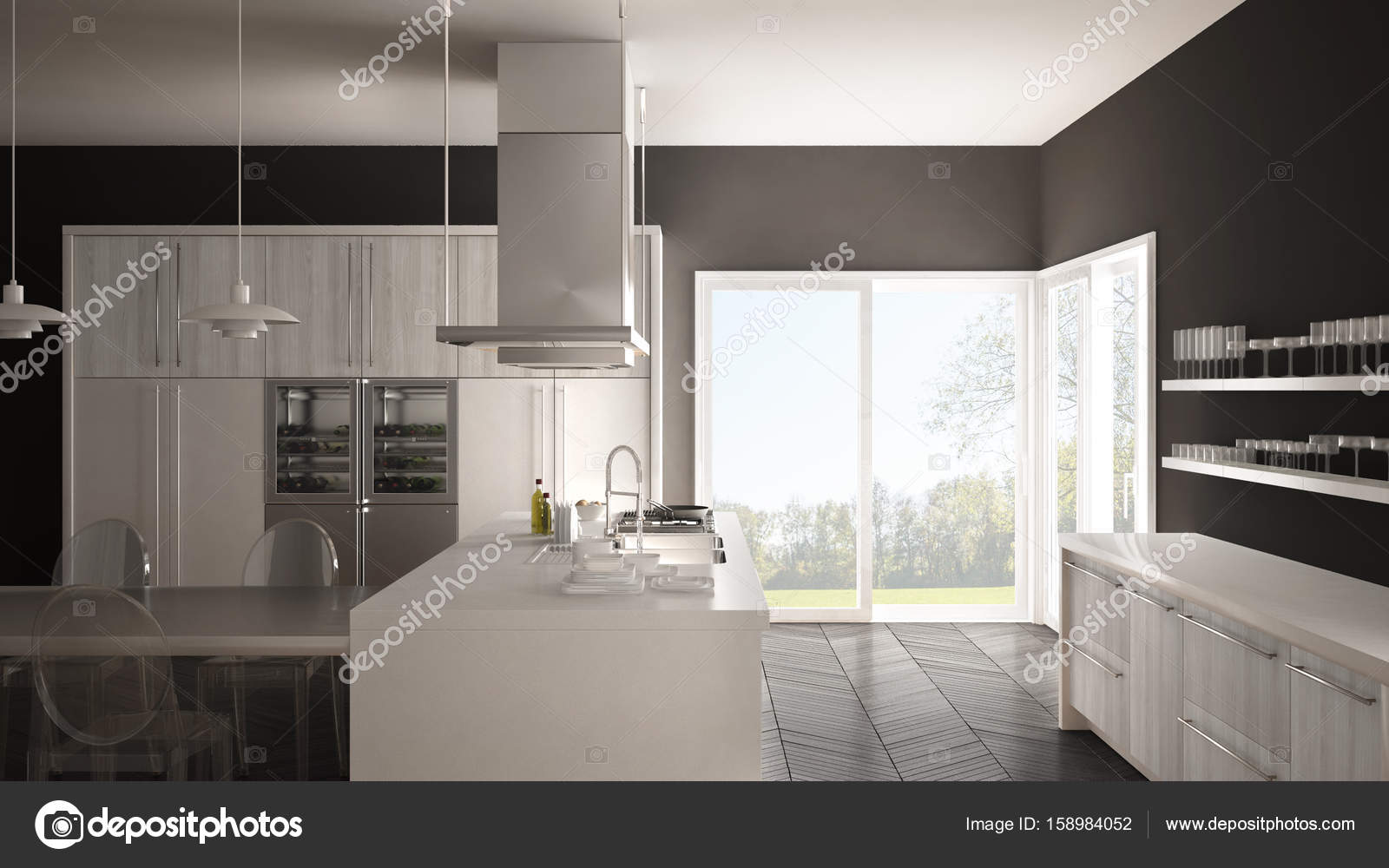 Pavimento Bianco E Grigio : Cucina minimalista moderna con tavolo sedie e pavimento in