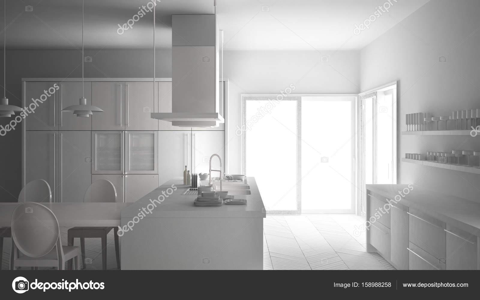 Totale witte project van minimalistische moderne keuken met tafel