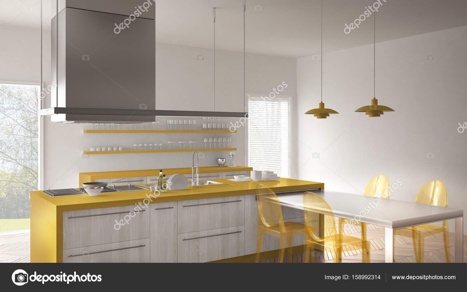 Minimalista E Moderna Cozinha Com Mesa Cadeiras E Parquet Piso