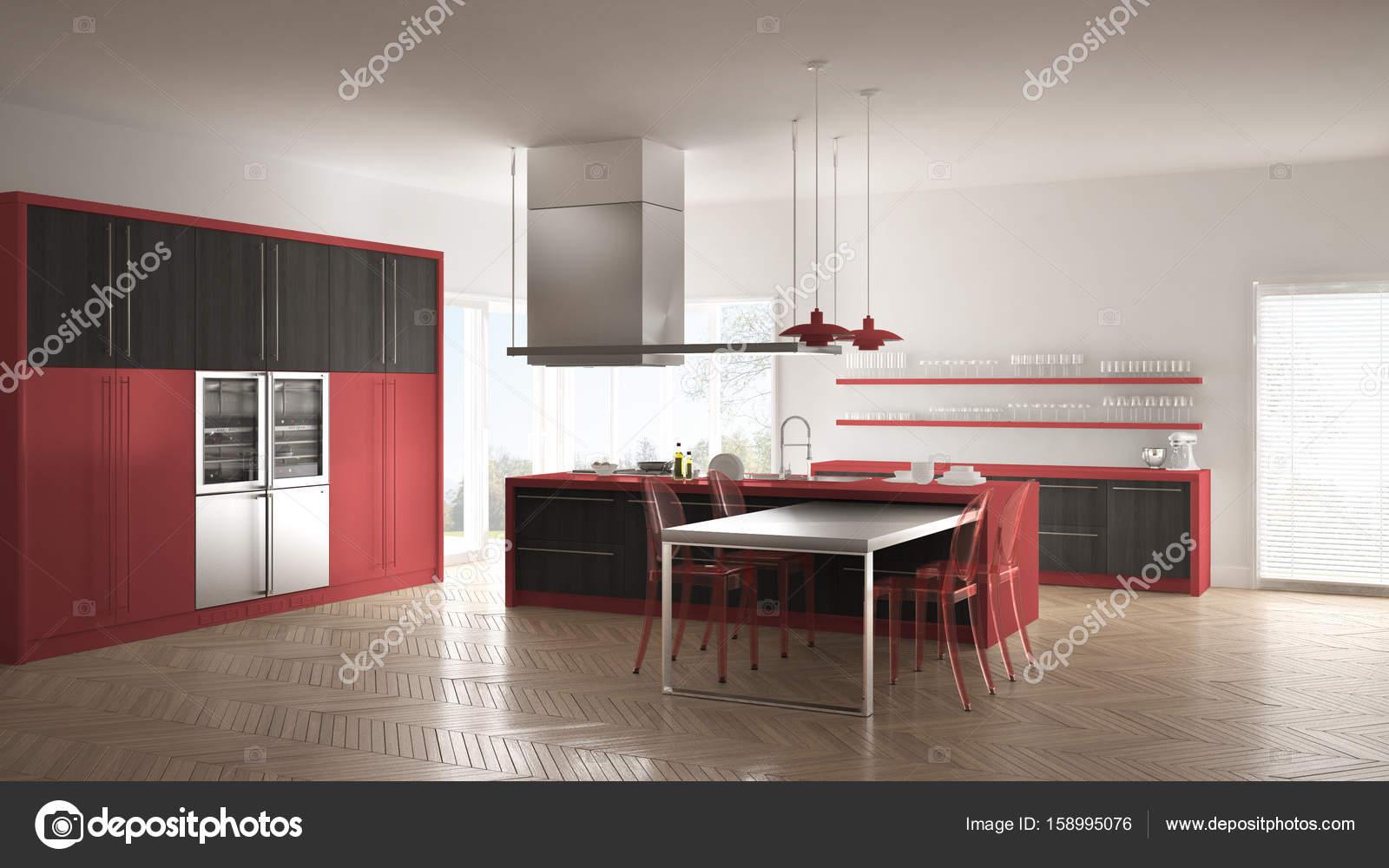 Minimalista E Moderna Cozinha Com Mesa Cadeiras E Parquet Piso  ~ Cozinha Cinza Com Vermelho