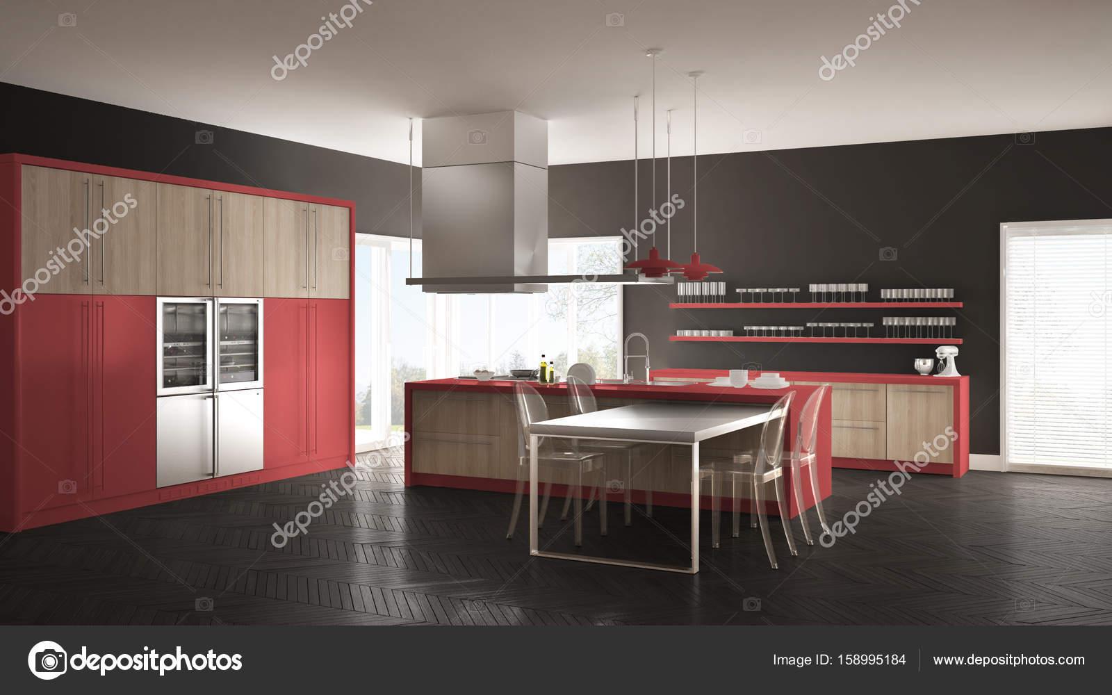 Cocina moderna minimalista con mesa, sillas y suelo de parqué — Foto ...