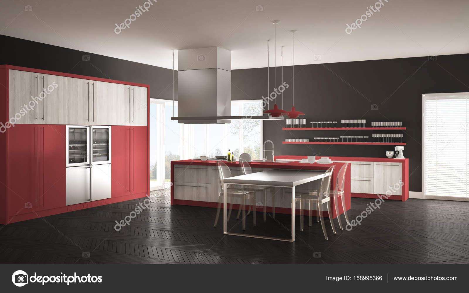Cucina minimalista moderna con tavolo, sedie e pavimento in parquet ...
