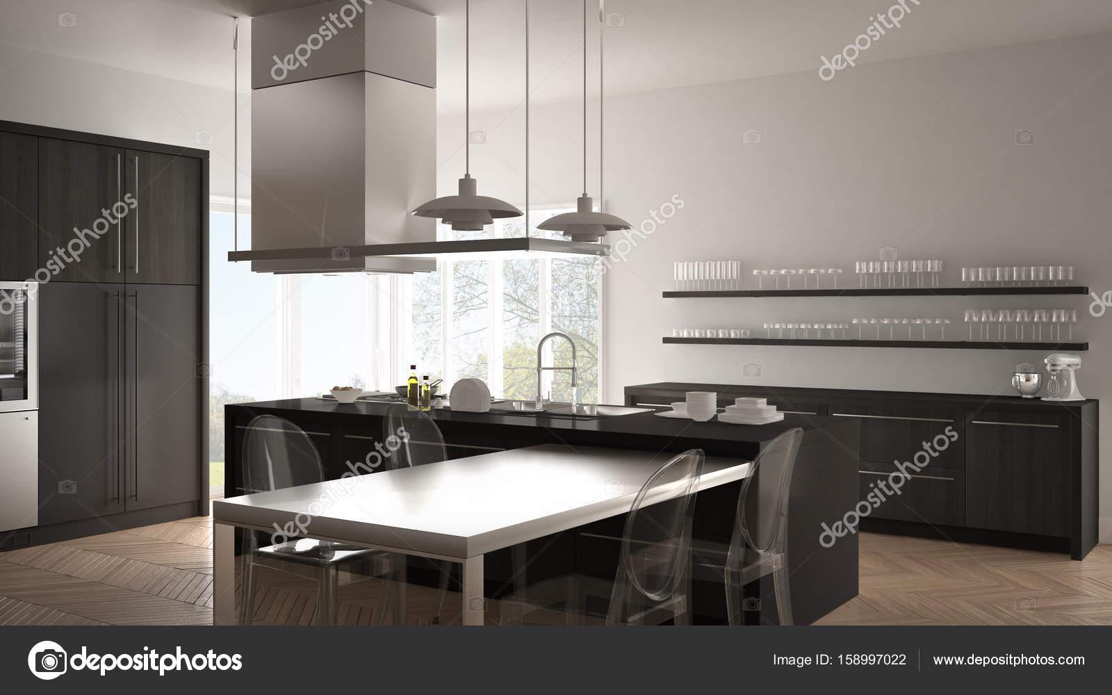 Cocina moderna minimalista con mesa, sillas y suelo de ...