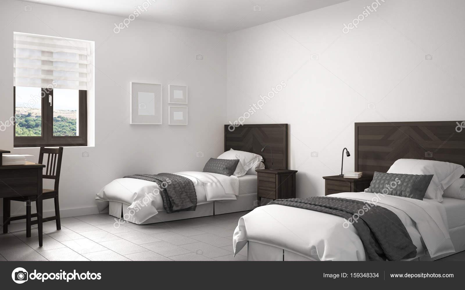 Schön Skandinavische Vintage Schlafzimmer Mit Zwei Betten, Alten Stil Innen D U2014  Stockfoto
