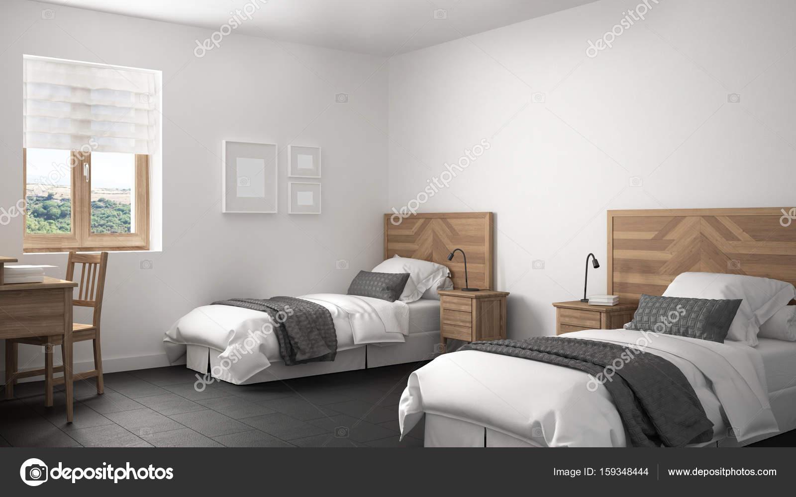Scandinave Vintage Chambre Avec Deux Lits, Vieux Style Interior Design U2014  Image De ...