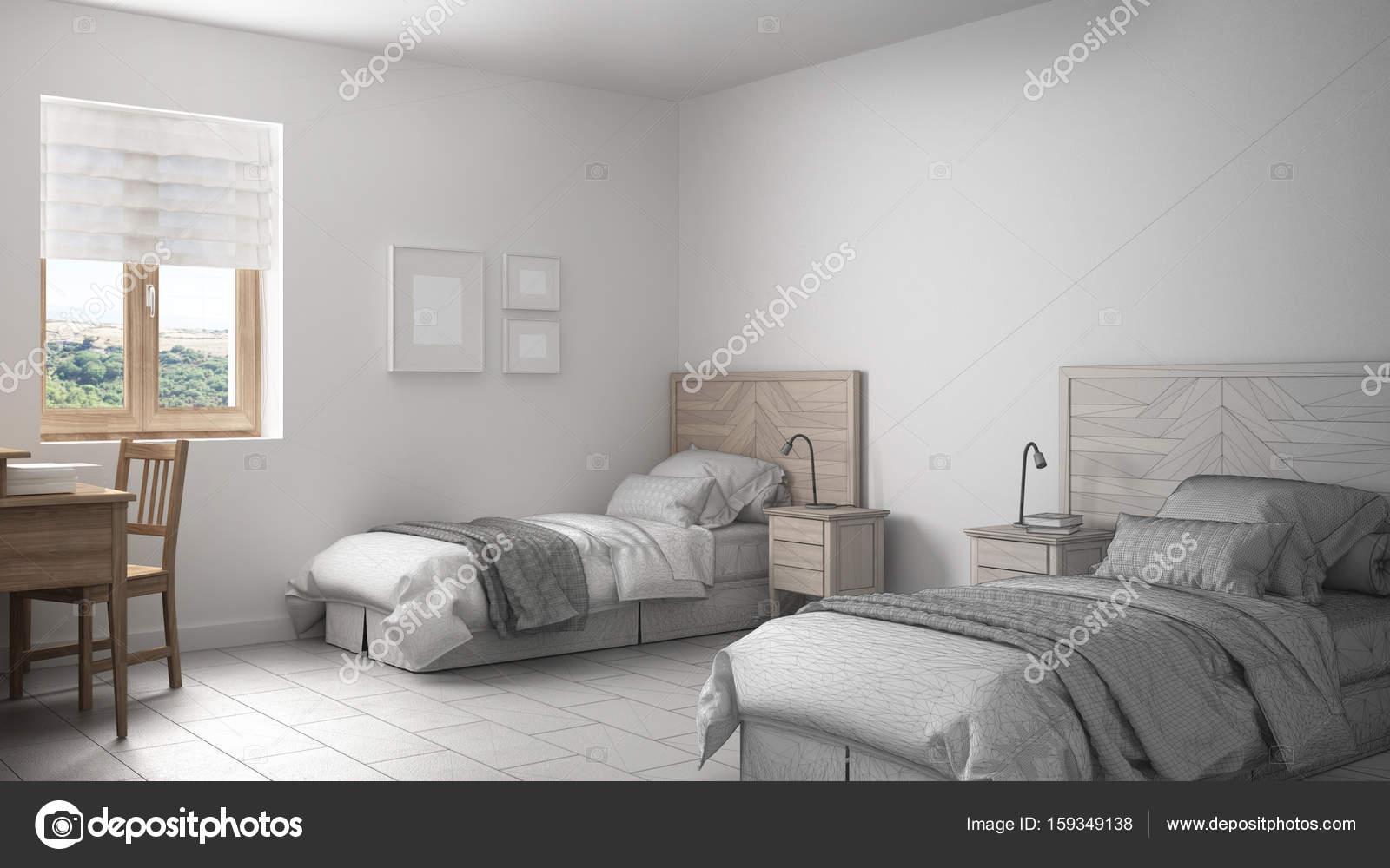 Unvollendete Projekt Der Skandinavischen Vintage Schlafzimmer Mit Zwei  Betten U2014 Stockfoto #159349138