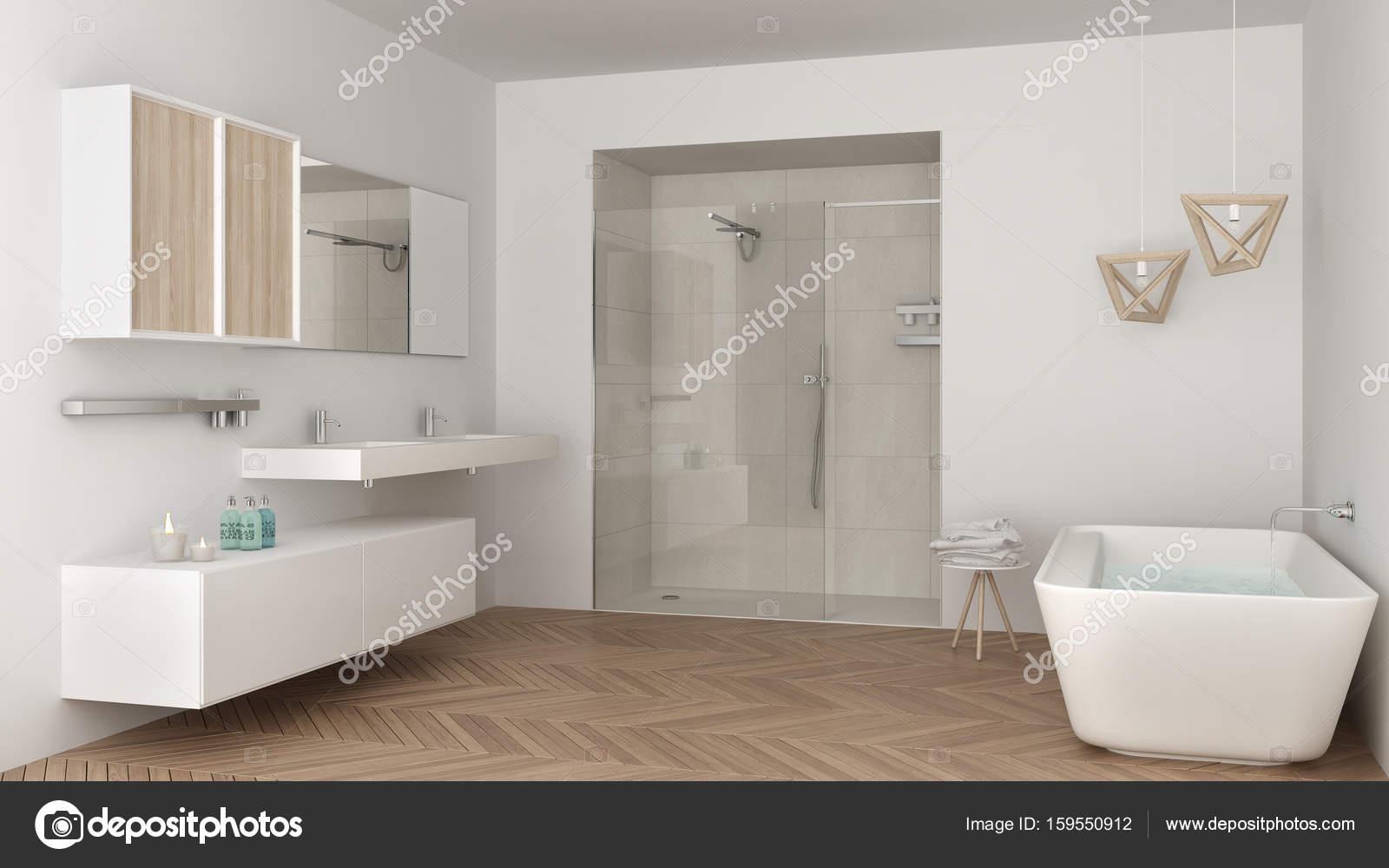 Docce E Vasche Da Bagno : Minimalista e luminoso bagno con doppio lavabo doccia e vasca da