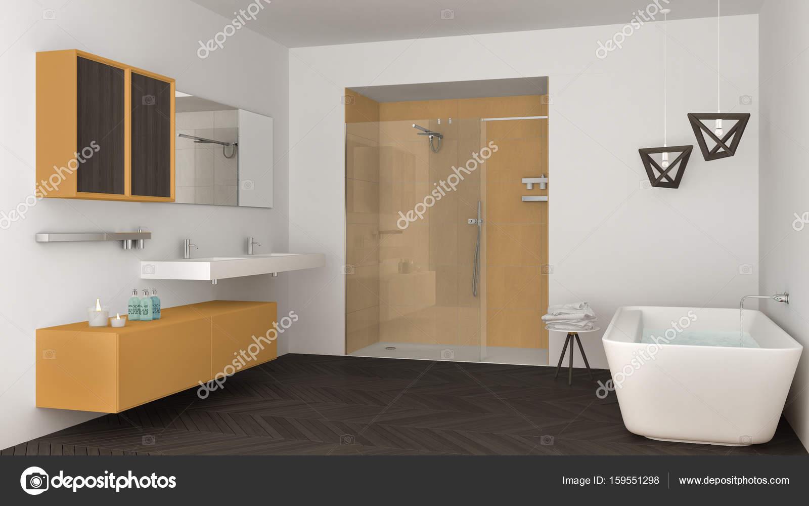 Vasca Da Bagno Bloccata : Minimalista e luminoso bagno con doppio lavabo doccia e vasca da