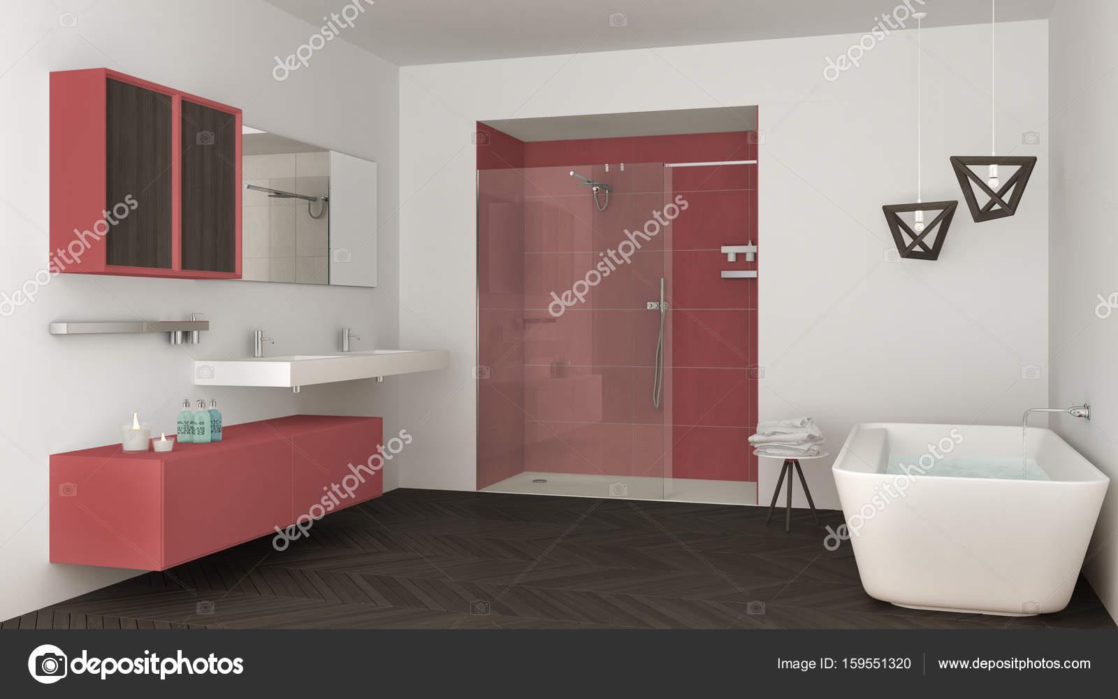 Vasca Da Bagno Rossa : Minimalista e luminoso bagno con doppio lavabo doccia e vasca da