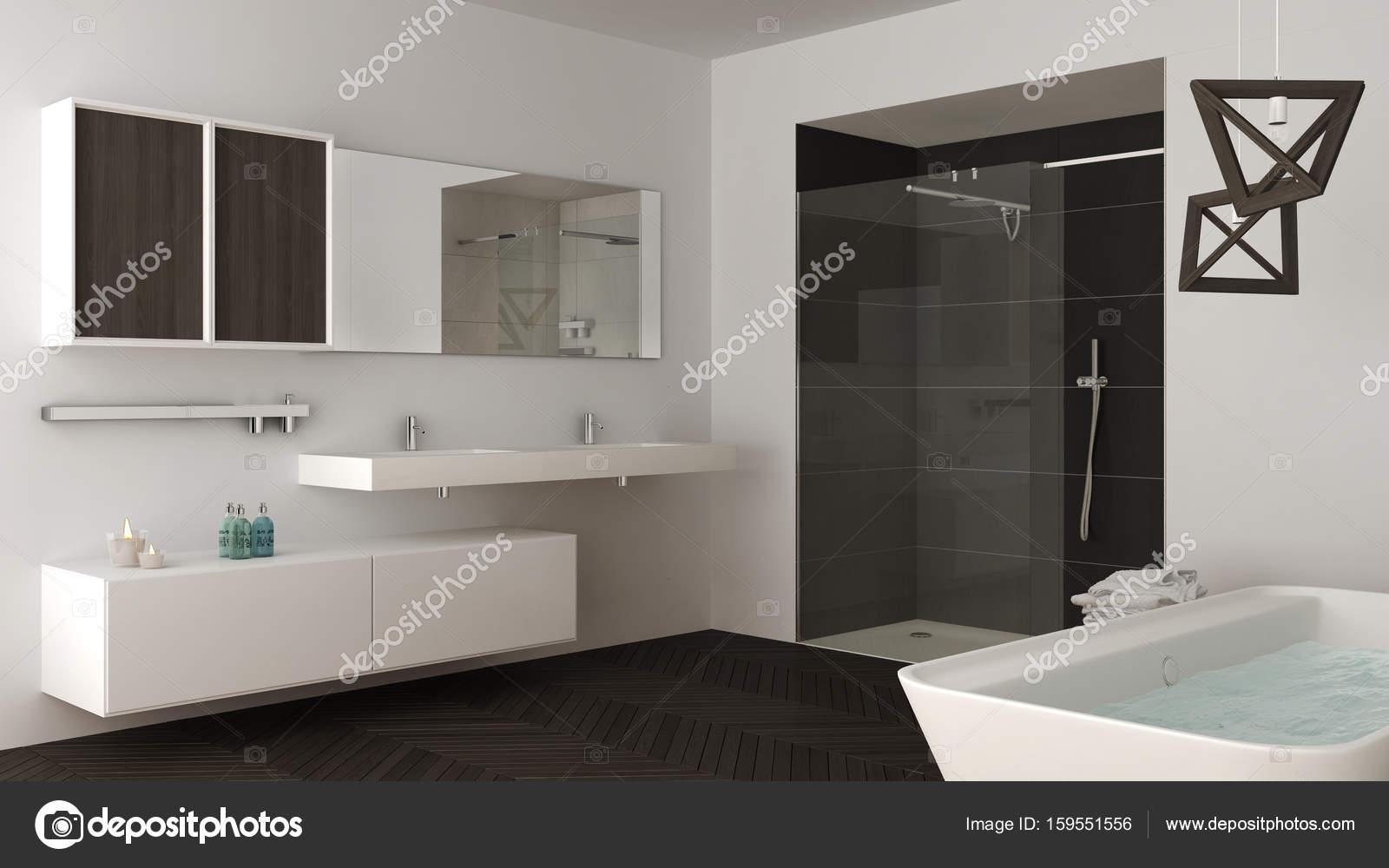 Minimalistische Helles Badezimmer Mit Zwei Waschbecken, Dusche Und Badewanne  U2014 Stockfoto