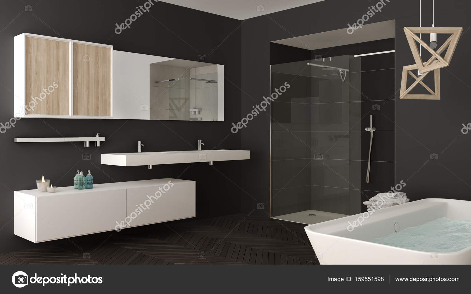 Doppi Lavabi Da Bagno : Minimalista e luminoso bagno con doppio lavabo doccia e vasca da