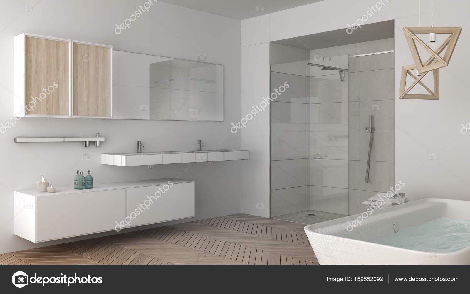Proyecto inconcluso del cuarto de baño luminoso minimalista con ...
