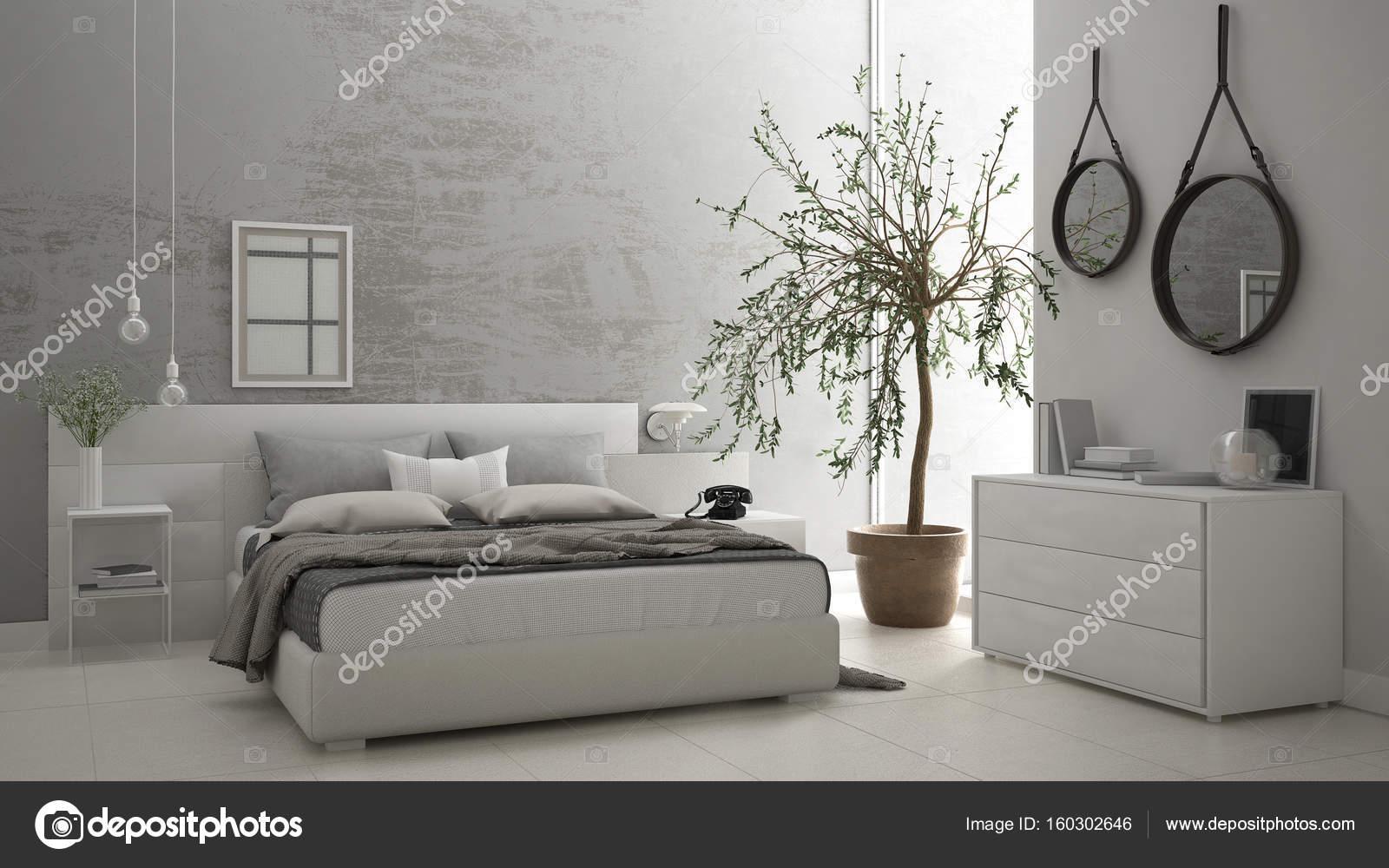 Moderna camera da letto con finestra, cassettiera con cassetti e ...